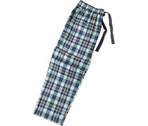 Herren Pyjama-Hose Baumwoll-Mix blau-grün kariert