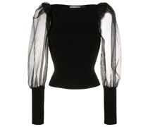 Abella sheer-sleeves top