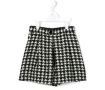 Tweed-Shorts mit Hahnentrittmuster