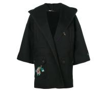 Oversized-Jacke mit Blumen-Applikation
