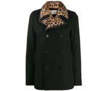 Doppelreihige Jacke mit Leopardenkragen