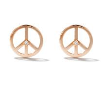14kt 'Peace' Rotgoldohrstecker mit Diamanten