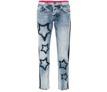 Cropped-Jeans mit Stern-Patch