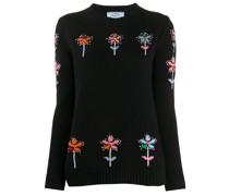 Intarsien-Pullover mit Blumenmuster