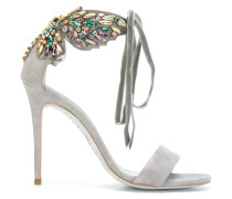 embellished butterfly heeled sandals