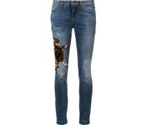 Skinny-Jeans mit Katzen-Patch