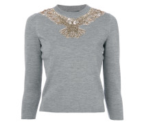 sequin embroidered eagle sweater