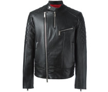 quilt sleeved leather jacket