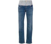 Gerade Jeans mit gestreiftem Bund