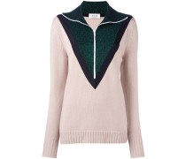 contrast detail zipped pullover