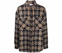 Tweed-Hemdjacke mit Knopfleiste