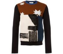 Intarsien-Pullover mit Biberfell
