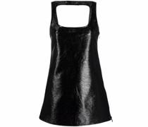sleeveless vinyl mini dress