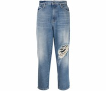 Gerade Jeans mit Distressed-Detail