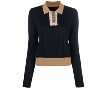 contrast-collar knitted top