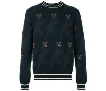 Intarsien-Pullover mit Dinosauriermuster