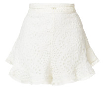 lace-embroidered flared shorts