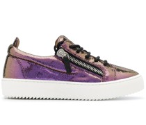 Metallic-Sneakers mit Plateau