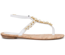 Verzierte Sandalen mit T-Riemen