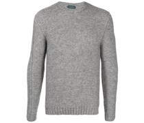 Intarsien-Pullover mit rundem Ausschnitt