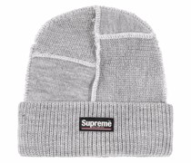knitted logo-patch beanie hat