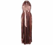 Plissierte Neckholder-Robe mit Streifen