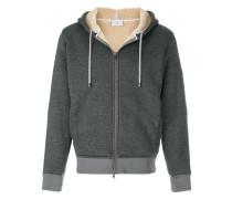 sherpa padded zip-up hoodie