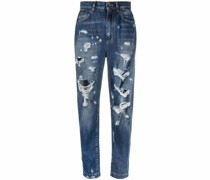 High-Waist-Jeans im Distressed-Look