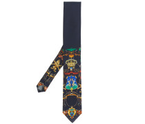 crest print tie