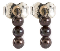 Sterlingsilberohrringe mit grauen Perlen