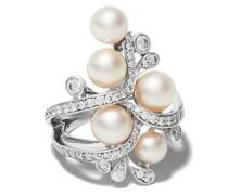 18kt Weißgoldring mit Perlen