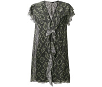 snake print ruffle dress