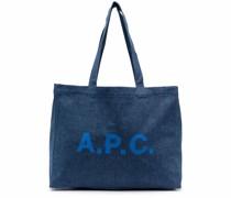 A.P.C. logo-print denim tote bag