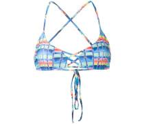 basket weave print bikini top