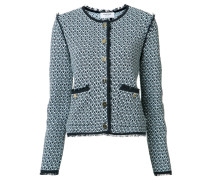 Kragenlose Tweed-Jacke - women - Baumwolle - 38