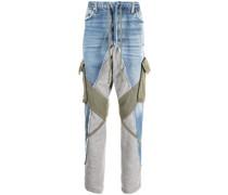 Tapered-Jeans mit Kontrasteinsätzen