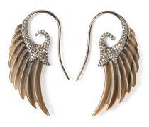 Flügel-Ohrringe aus Silber mit Diamanten und Achat