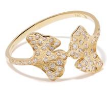 18kt 'Ginkgo' Gelbgoldring mit Diamanten