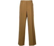 pleated wide-legged tailored trousers