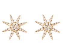 18kt yellow gold diamond Sun stud earrings