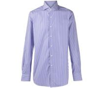 spread-collar pinstripe shirt