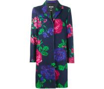 Einreihiger Mantel mit Blumen-Print