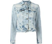 Cropped-Jeansjacke mit Bleached-Effekt