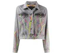 Jeansjacke mit Farbklecks-Print