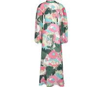 Geripptes Kleid mit Blumen-Print
