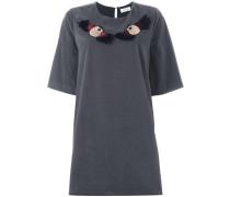 T-Shirt-Kleid mit eingestickten Vögeln
