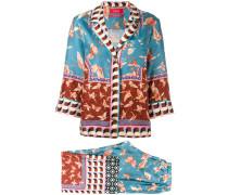 butterfly print trouser suit - women - Seide