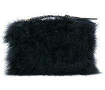 textured woven zip tassel clutch