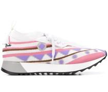Sneakers mit Intarsien-Strickmuster