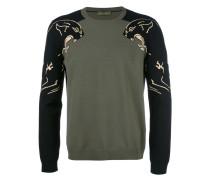 Intarsien-Pullover mit Panthermotiv